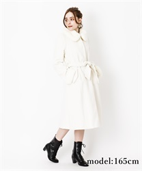 Fur collar long coat(White-M)