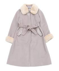 Fur collar long coat(Pale pink-M)