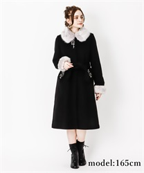 Fur collar long coat(Black-M)