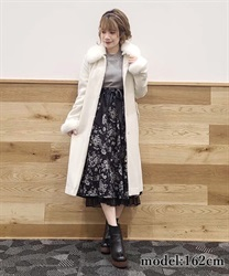 Fur collar long coat