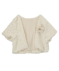 Rose Fur half Sleeves Bolero(White-Free)
