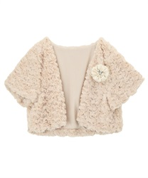 Rose Fur half Sleeves Bolero(Beige-Free)