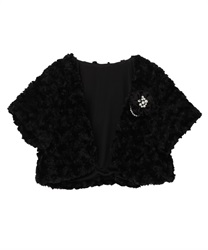 Rose Fur half Sleeves Bolero(Black-Free)