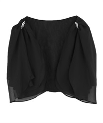 Back Ribbon2way Bolero(Black-Free)