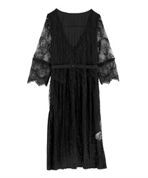 Back Pleated Lace Gown(Black-Free)