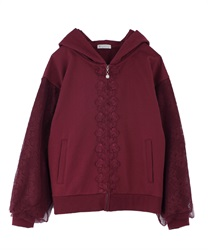Voluminous Lace Sleeve Hoodie(Wine-Free)