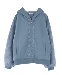 Voluminous Lace Sleeve Hoodie(Blue-Free)