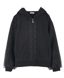 Voluminous Lace Sleeve Hoodie(Black-Free)