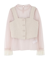 Tulle blouses × bustier(Pale pink-Free)