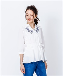 Skipper Shirt Pullover with Ribbons(Ecru-Free)