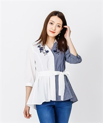 Skipper Shirt Pullover with Ribbons(Blue-Free)