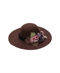 Flower Bouquet Wide Brim Hat(Brown-M)