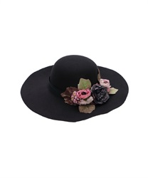 Flower Bouquet Wide Brim Hat(Black-M)