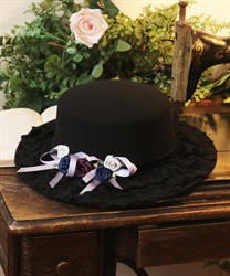 Roses garden straw hat(Black-M)