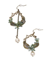 Botanical Motif Earrings(Blue-M)