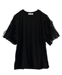 Lace Sleeve paneled Pullover [online only](Black-Free)