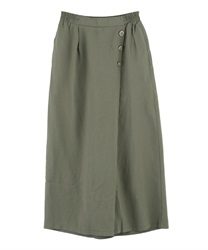 Wrap wide pants with buttons(Khaki-Free)