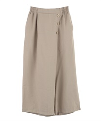 Wrap wide pants with buttons(Beige-Free)
