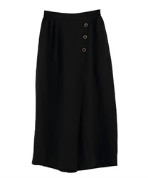 Wrap wide pants with buttons(Black-Free)