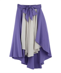 Flared skirt with wrapped asymmetry(Purple-Free)