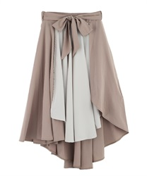 Flared skirt with wrapped asymmetry(Beige-Free)