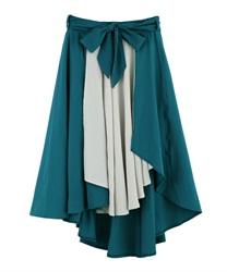 Flared skirt with wrapped asymmetry(Blue green-Free)
