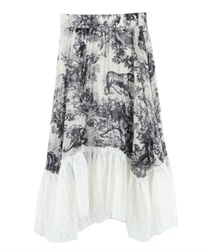 Hem lace switching pleated skirt [Only at Online Shop](Black-Free)