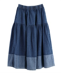 Denim gathered skirt [online only]