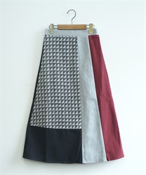 Geometric pattern blocking skirt(Red-Free)