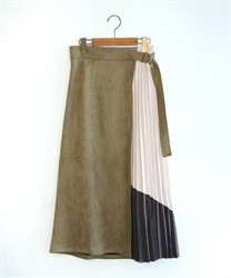 【10%OFF】Suede×color scheme skirt