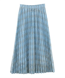 Plaid Pleated Skirt(Blue-Free)