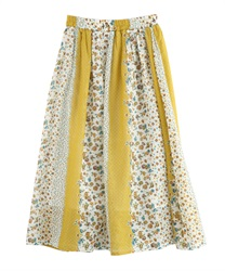 Flower Panel Pattern Gathered Skirt [online only](Yellow-Free)