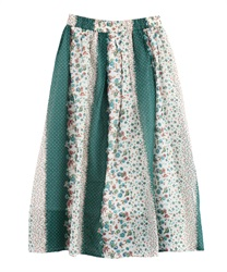 Flower Panel Pattern Gathered Skirt [online only](Green-Free)