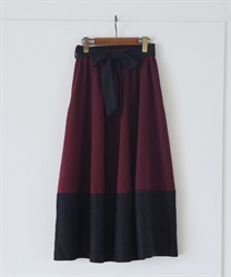 【2Buy10%OFF】Cocoon style color scheme with ribbon skirt(Wine-Free)