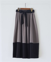 【2Buy10%OFF】Cocoon style color scheme with ribbon skirt(Grey-Free)