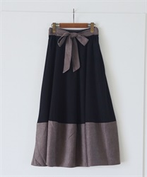 【2Buy10%OFF】Cocoon style color scheme with ribbon skirt(Black-Free)