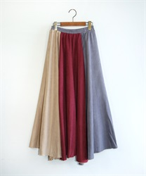 【10%OFF】Suede flare skirt(Red-Free)