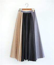【10%OFF】Suede flare skirt(Black-Free)
