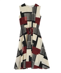 Geometric Pattern Maxi Dress(Ecru-Free)