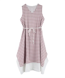 Dotted patterned hem layered dress(Pale pink-Free)