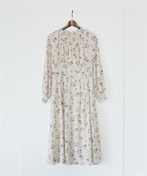 Floral Shirring Tucked Dress(Ecru-Free)