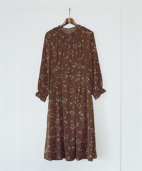 Floral Shirring Tucked Dress(Brown-Free)