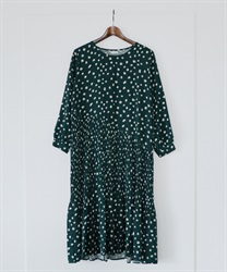 Dotted Asymptote Pleated Dress(Green-Free)