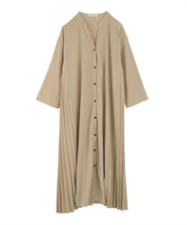 Side Pleated Shirt Dress(Beige-Free)