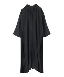 Side Pleated Shirt Dress(Black-Free)