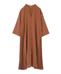 Side Pleated Shirt Dress(Camel-Free)
