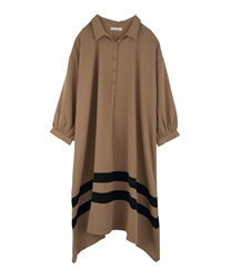Hemmed Color Scheme Big Dress(Camel-Free)