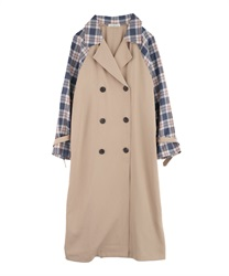 Plaid switching trench coat[Only at Online Shop](Beige-Free)