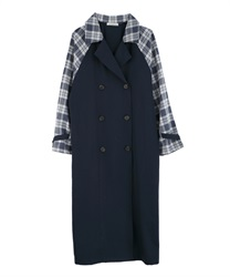Plaid switching trench coat[Only at Online Shop](Navy-Free)
