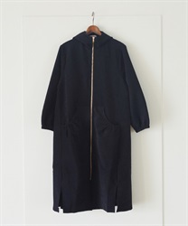 Zip up hooded coat(Black-Free)
